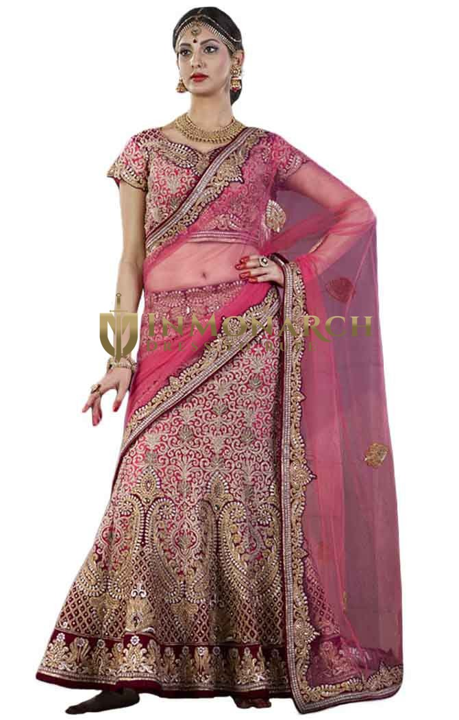 Pink Velvet and Silk Bridal Lehenga