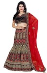 Red and Blue Velvet Bridal Lehenga