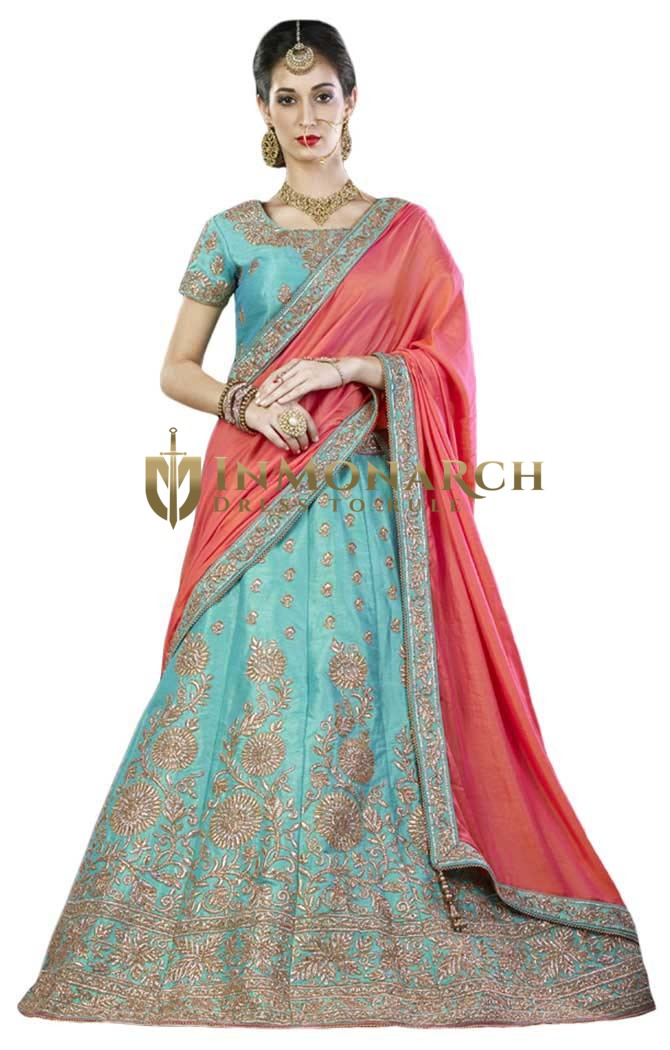 Wedding Cyan Silk Lehenga Choli
