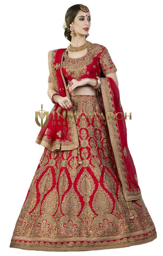 Embroidered Red Silk Bridal Lehenga
