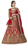 Embroidered Red Silk Bridal Lehenga