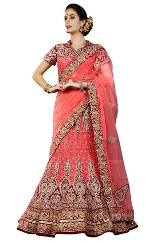 Wedding Peach Velvet and Silk Lehenga