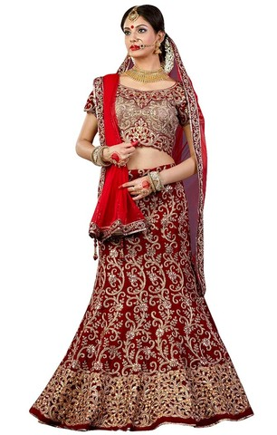 Beautiful Maroon Velvet Lehenga Choli