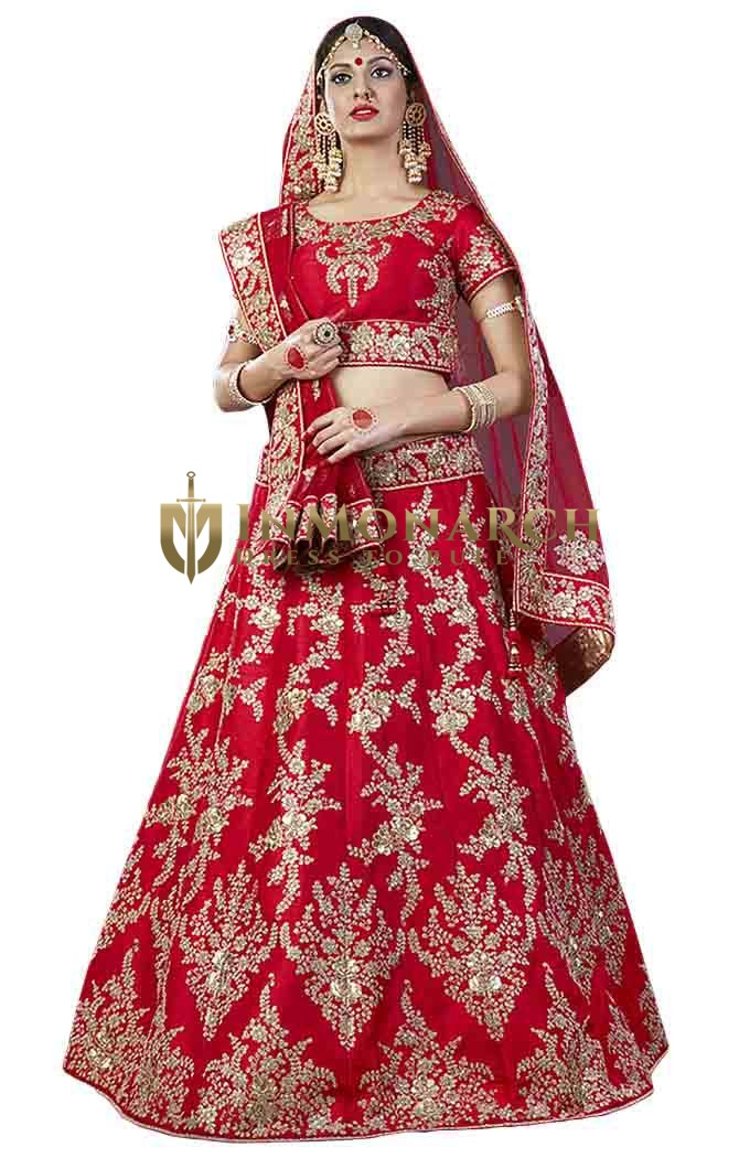 Crimson Silk Embroidered Lehenga Choli