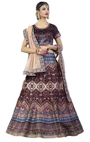 Shaded Brown Bhagalpuri Silk Lehenga