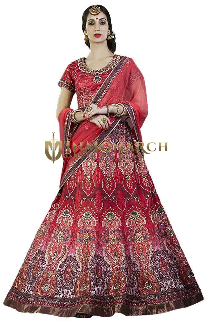 Crimson Red Bhagalpuri silk Bridal Lehenga