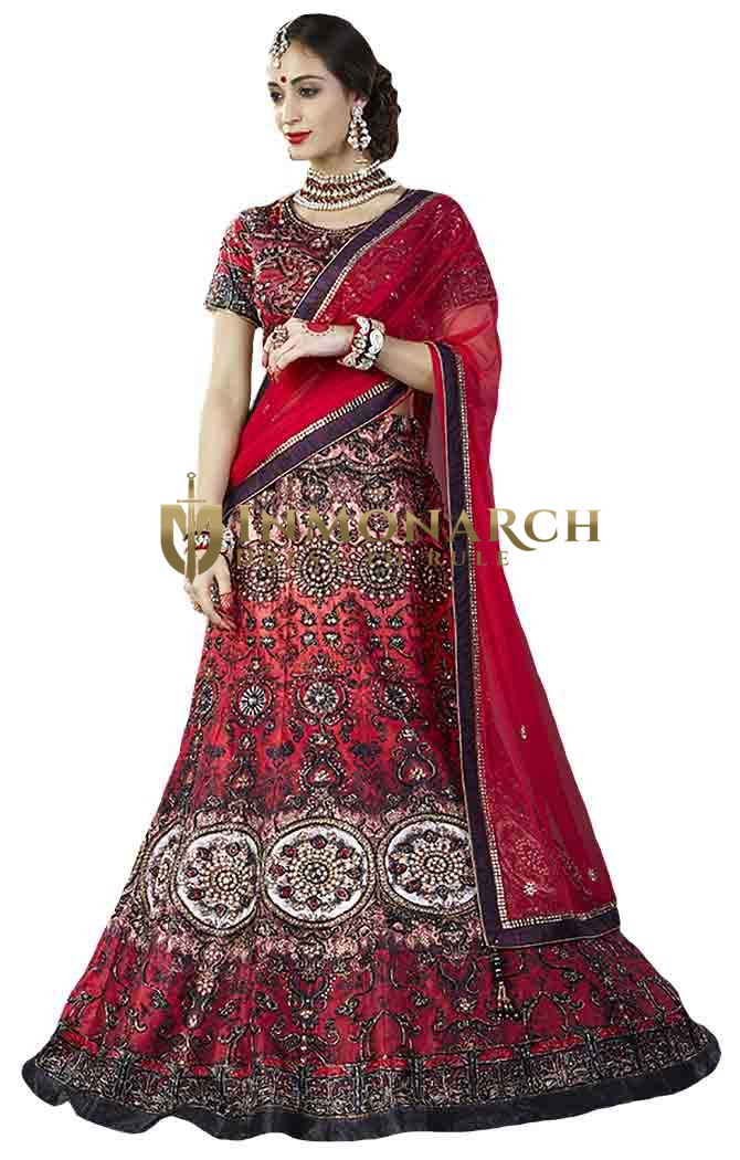 Red Silk Embroidery Work Bridal Lehenga