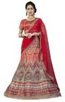 Crimson Red Bhagalpuri Silk Lehenga Choli