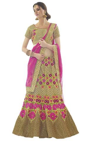 Trendy Green Silk Bridal Lehenga Choli