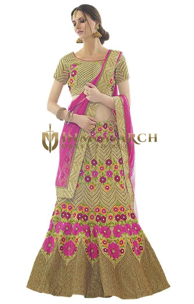 Trendy Green Silk Bridal Lehenga Choli