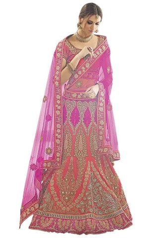 Fuschia Pink & Peach Silk Bridal Lehenga