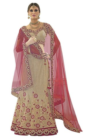 Heavy Work Beige Bridal Lehenga Choli