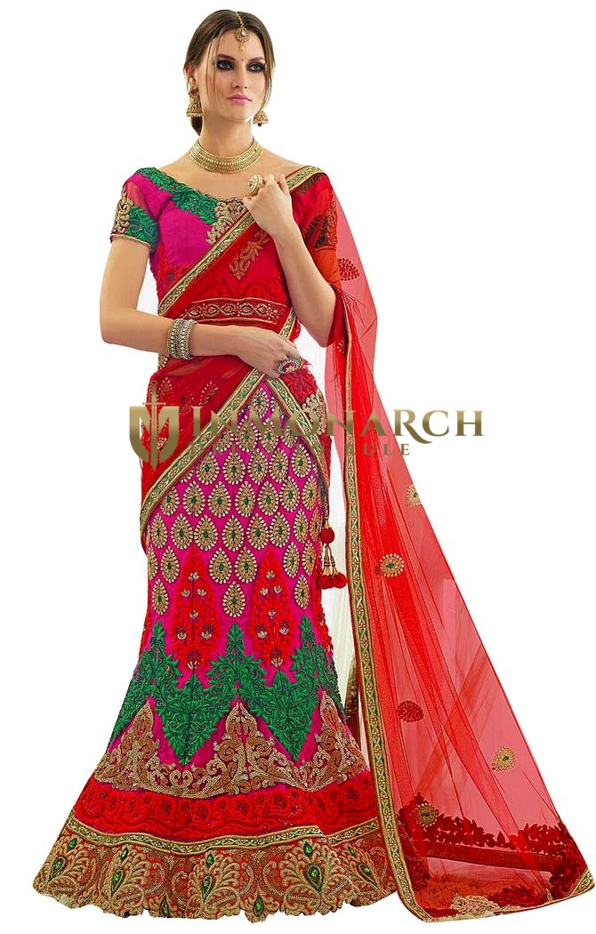 Hot Pink Net Embroidered Designer Lehenga