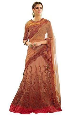 Classic Look Peach Net Bridal Lehenga