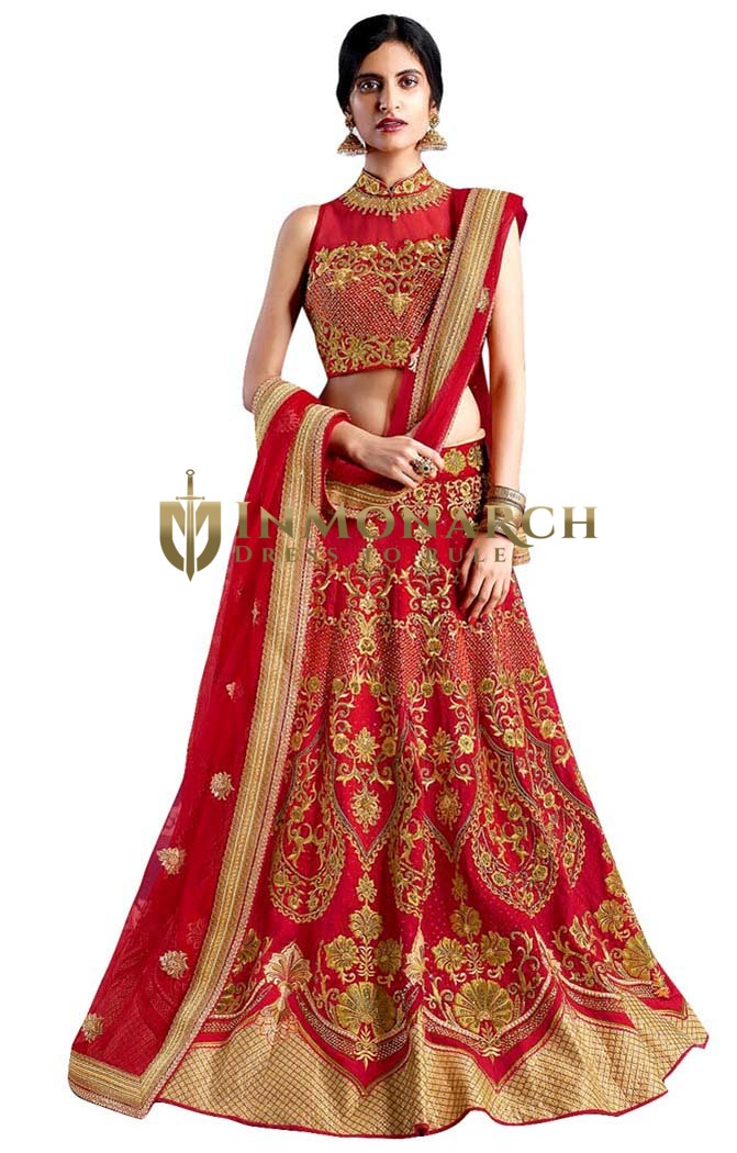 Crimson Red Silk Embroidered Lehenga