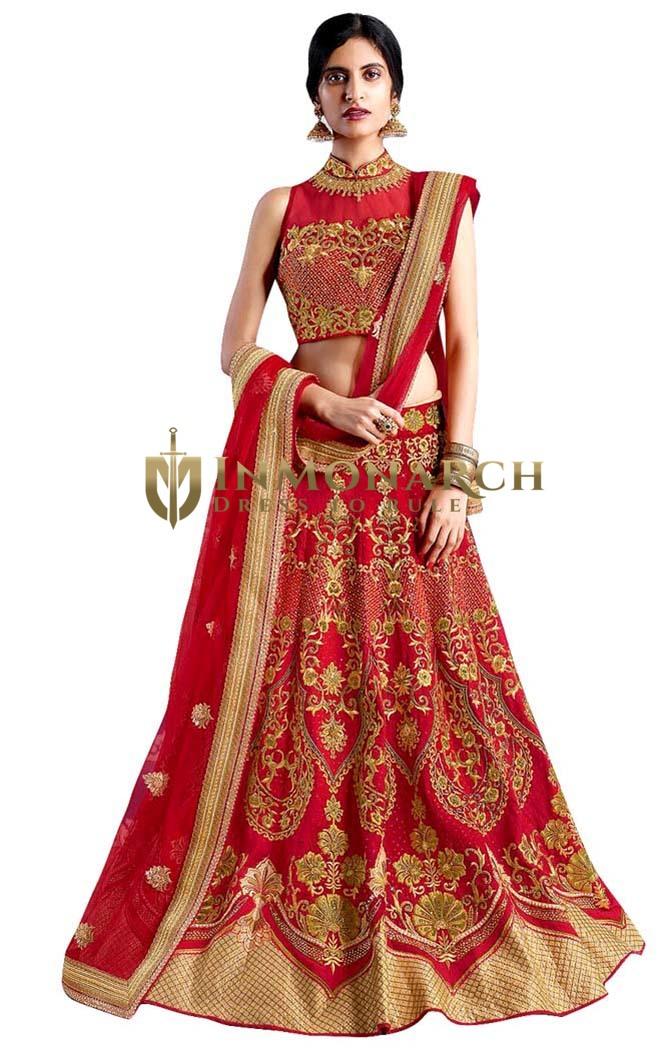 Crimson Red Silk Embroidered Lehenga
