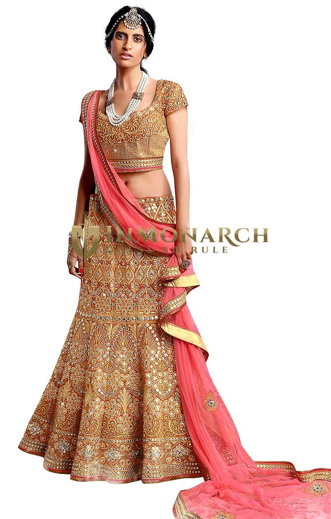 Designer Golden Silk Bridal Lehenga