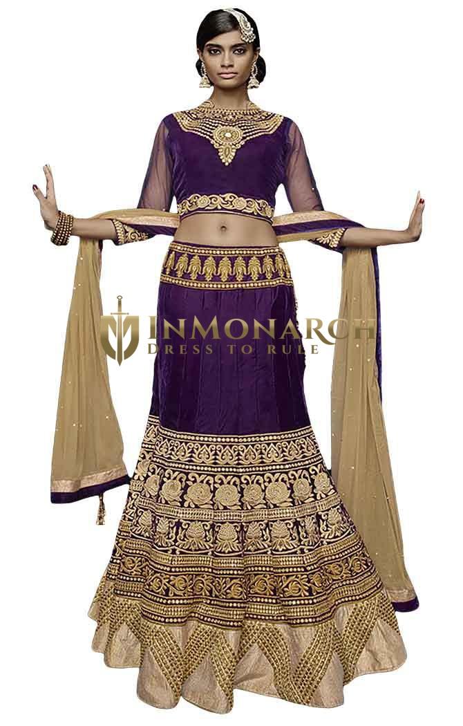 Partywear Purple Velvet Lehenga Choli