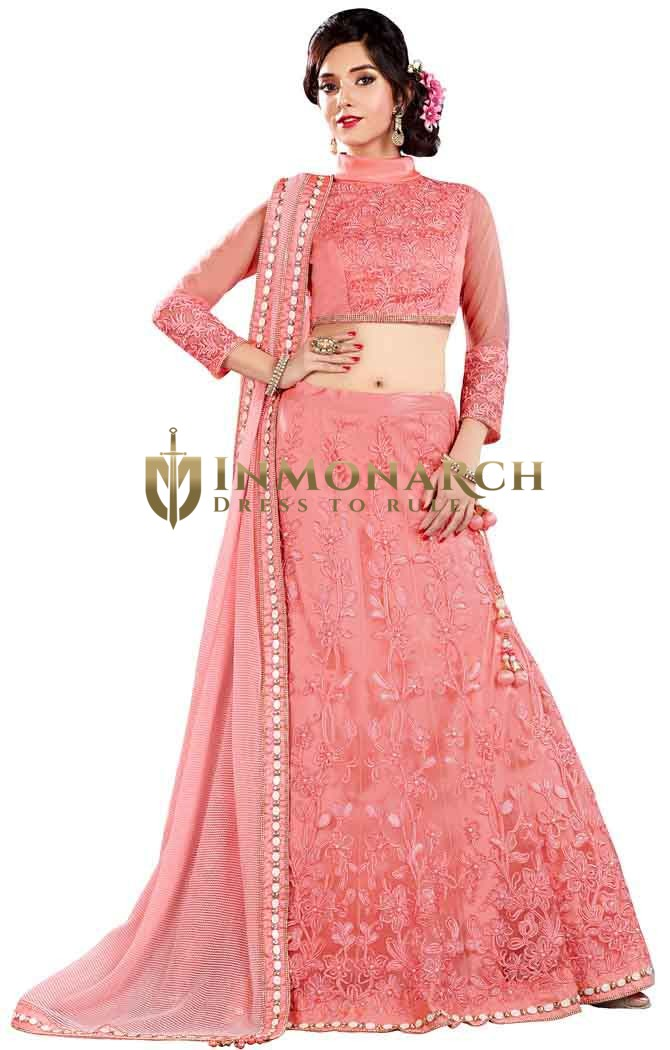 Stylish Pink Net Lehenga Choli