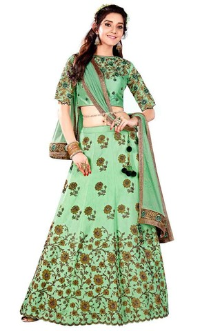Partywear Green Raw Silk Lehenga Choli