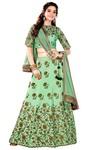 Partywear Green Raw Silk Lehenga Choli