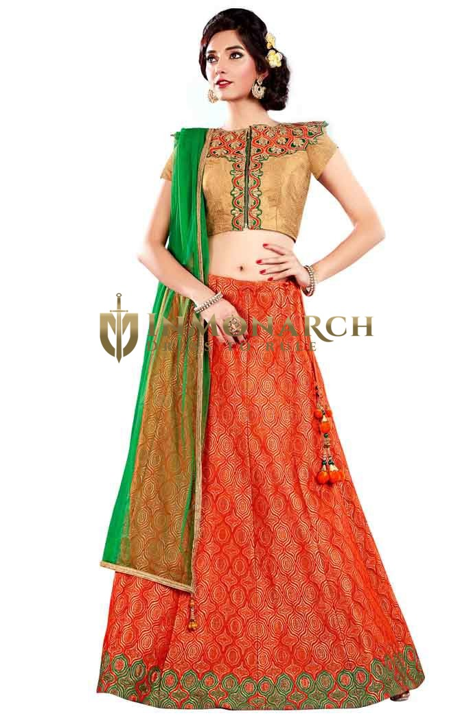 Orange Jacquard Silk Lehenga Choli