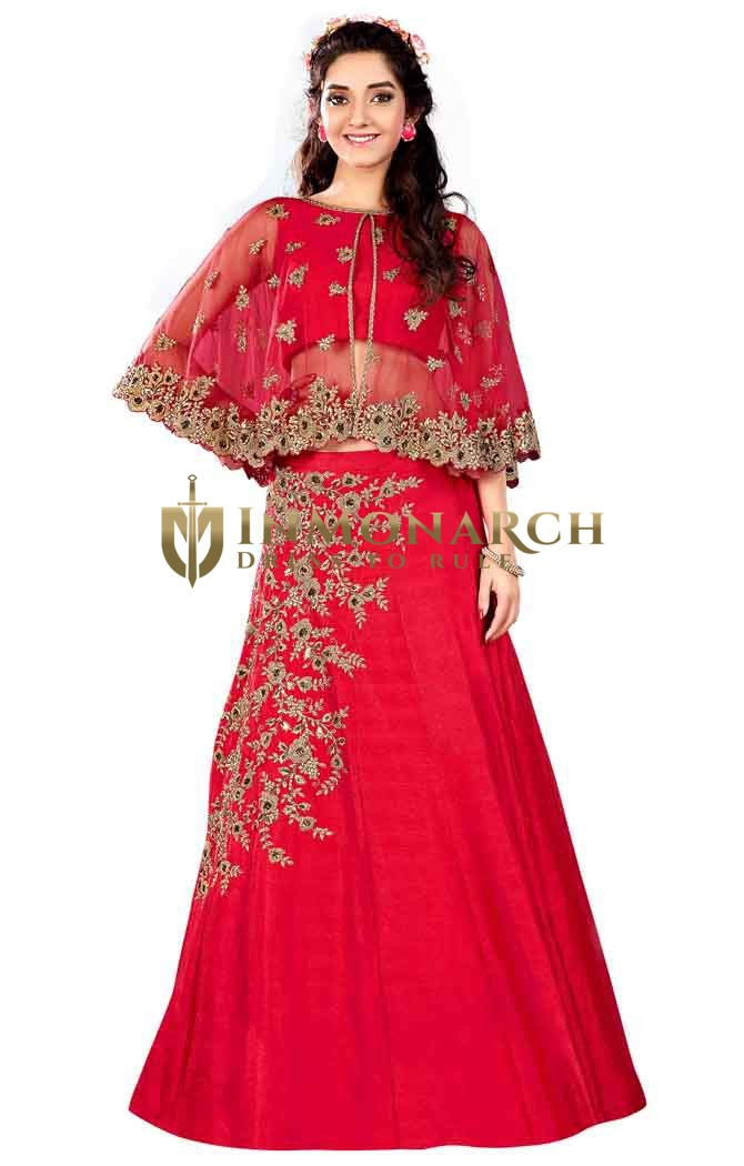 Bridal Crimson Raw Silk Lehenga Choli