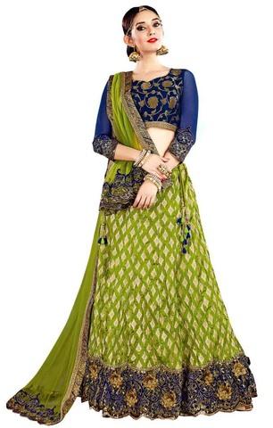 Crushed Silk Green Lehenga Choli