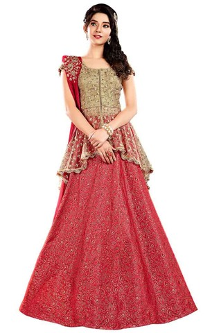 Gorgeous Jacquard Silk Red Lehenga Choli