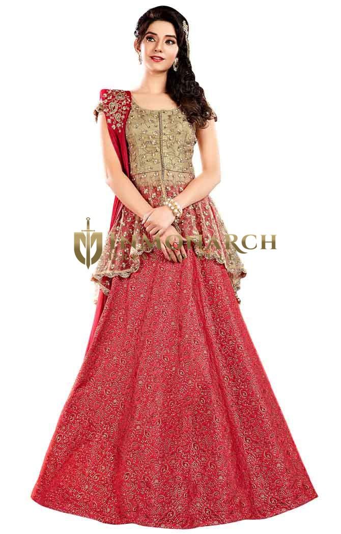 Gorgeous Jacquard Silk Red Lehenga Choli