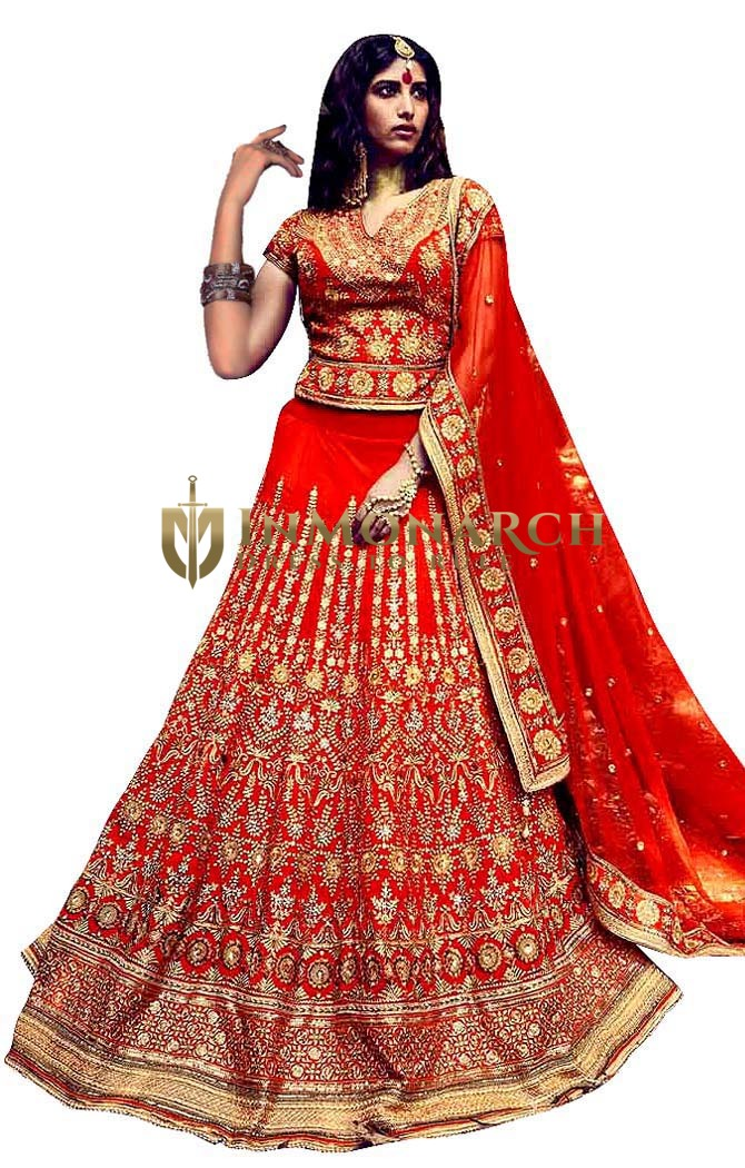 Orange Silk Party Wear Lehenga Choli