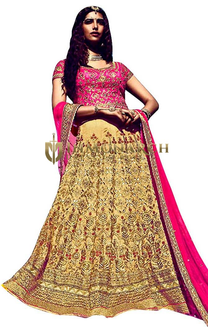 Party Wear Beige & Pink Lehenga Choli