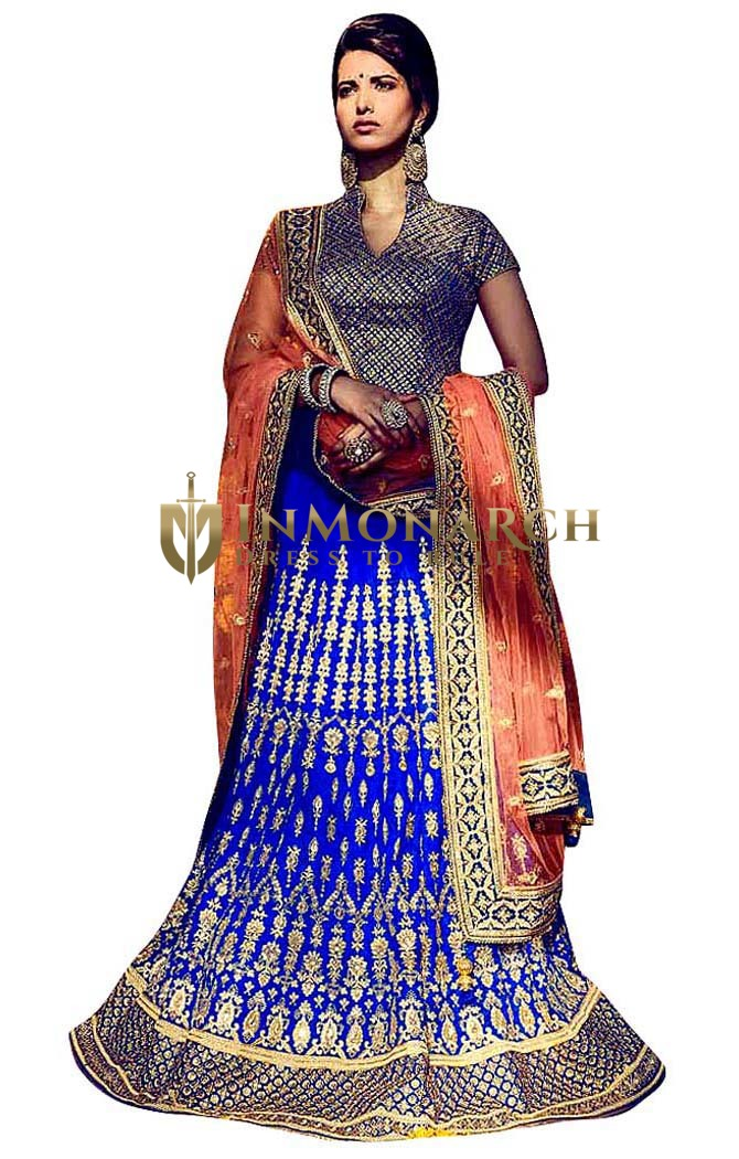 Superb Blue Bhagalpuri Bridal Lehenga