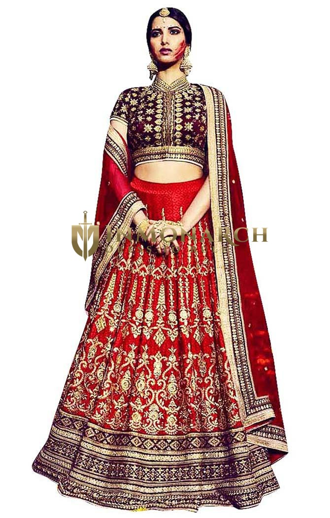 Royal Bridal Printed Red Lehenga Choli