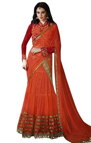 Rust Net Lehenga Style Saree