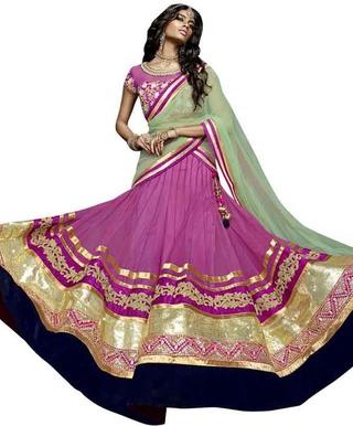 Magenta Net Lehenga Style Sari