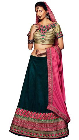 Green and Beige Ark Silk Lehenga Choli