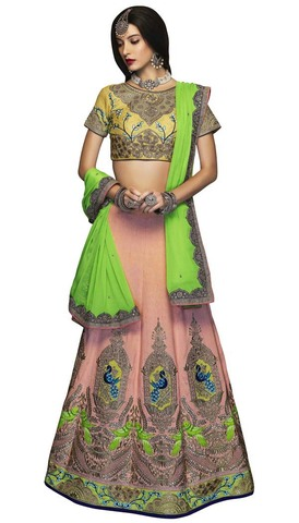 Peach and Green Two Tone Lehenga Choli