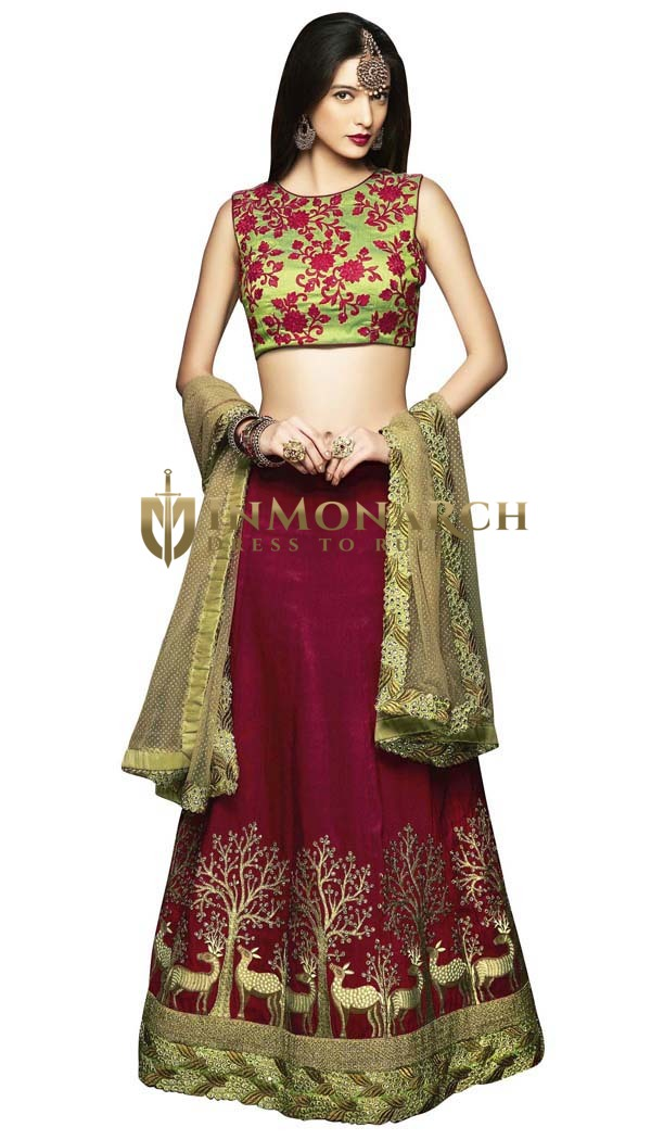 Maroon and Green Patch Work Lehenga