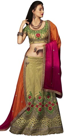 Light Green Embroidered Wedding Lehenga