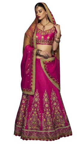 Art Silk Magenta Bridal Lehenga Choli