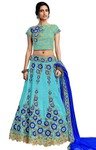 Embroidered Sky Blue Silk Bridal Lehenga