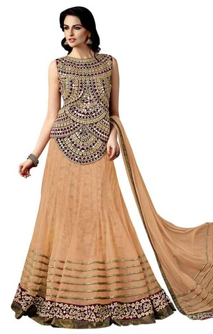 Peach Net Bridal Lehenga Choli