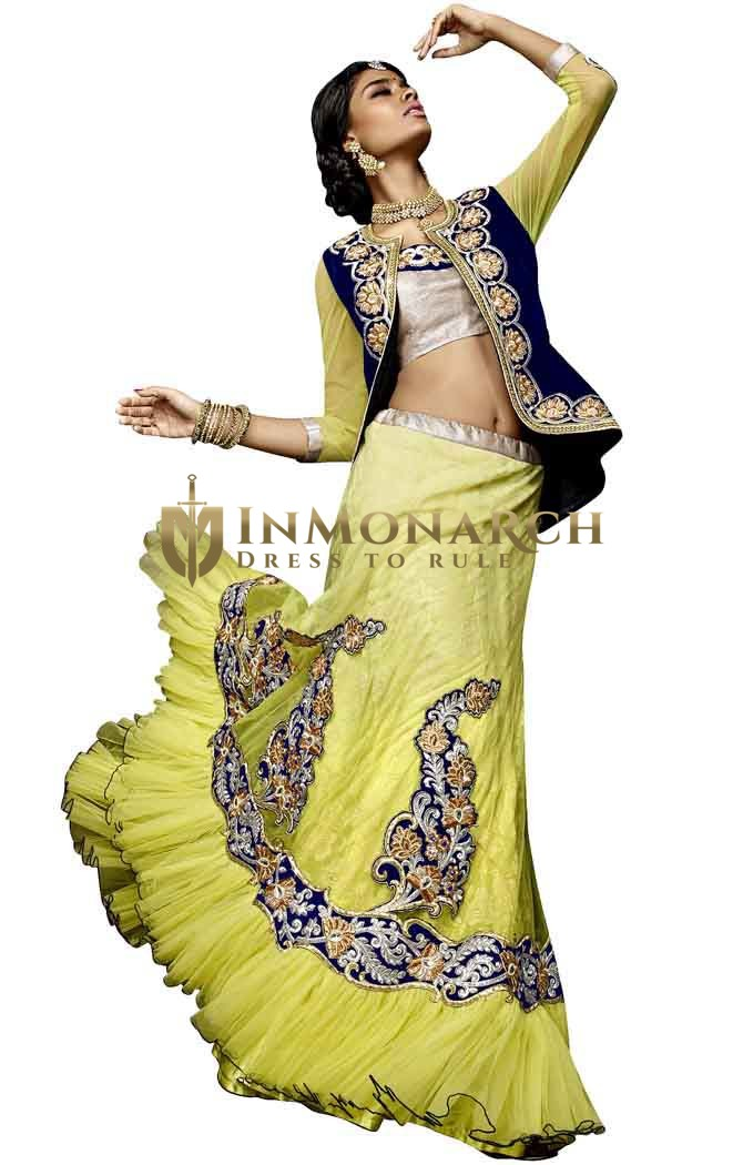 Shaded Yellow Net Lehenga Choli