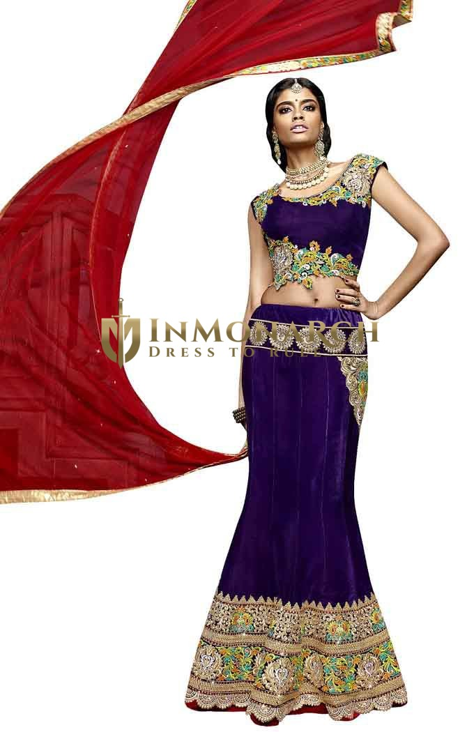 Embroidered Purple Velvet Lehenga