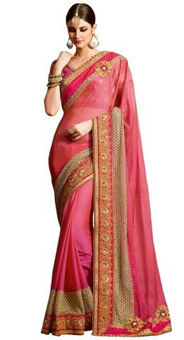 Partywear Crepe & Chiffon Pink Saree