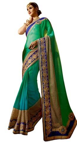 Shaded Green Crepe & Chiffon Bridal Saree