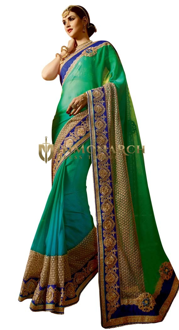 Shaded Green Crepe & Chiffon Bridal Saree