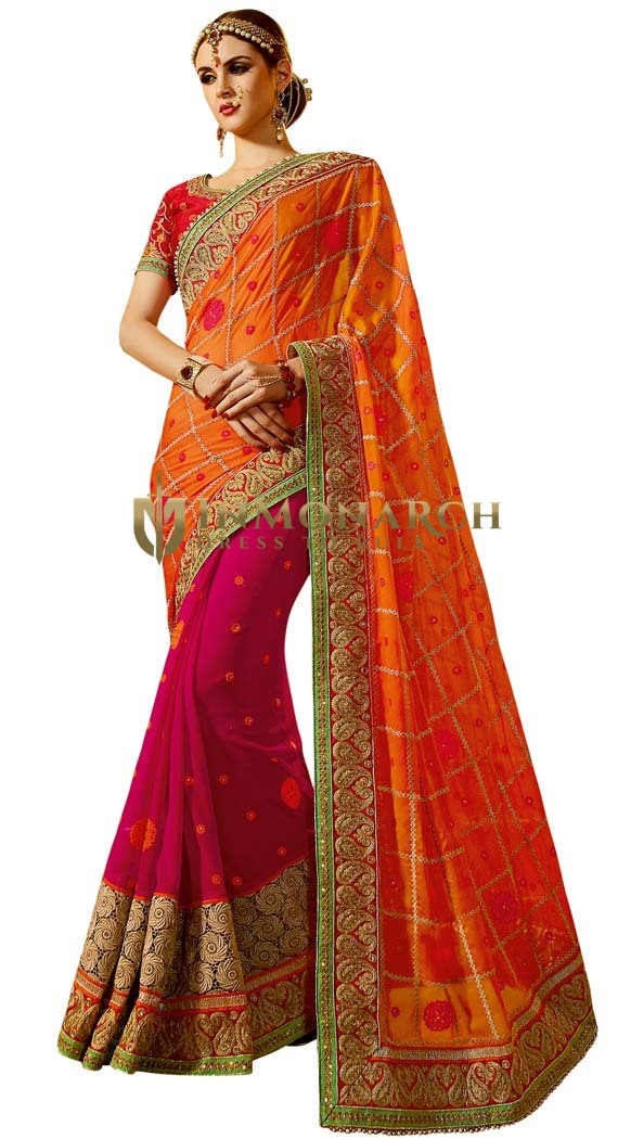 Half & Half Georgette Wedding Saree