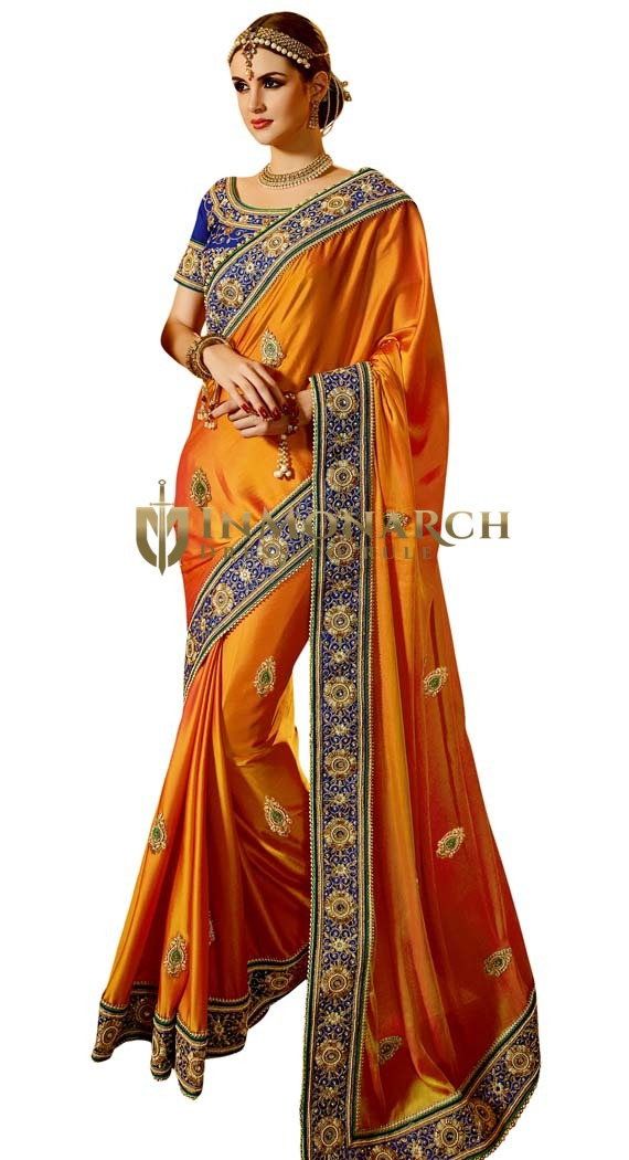 Orange & Blue Satin Chiffon Saree